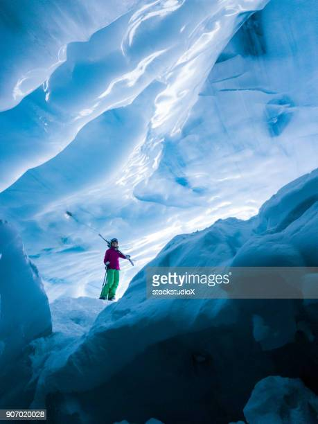 stunning glacial ice cave - whistler british columbia stock pictures, royalty-free photos & images