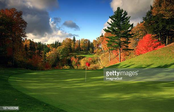 stunning golf course in canada in the fall - golf stock pictures, royalty-free photos & images