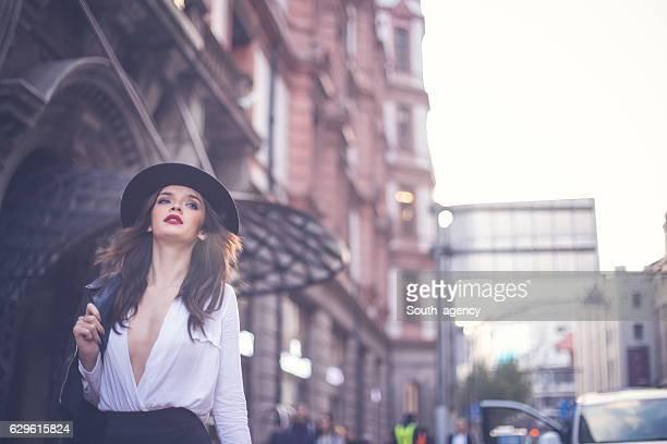 Stunning lady taking a walk