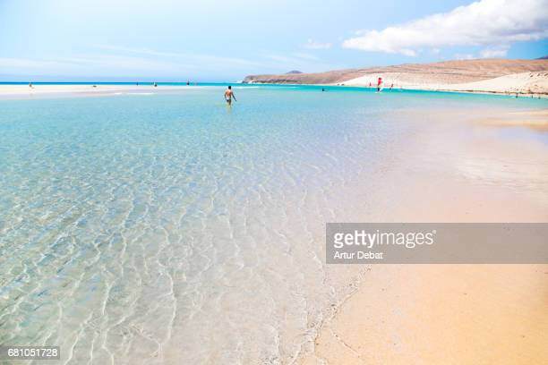 Stunning lagoon beach with turquoise and crystal waters in the south of Fuerteventura island during travel vacations in the island.