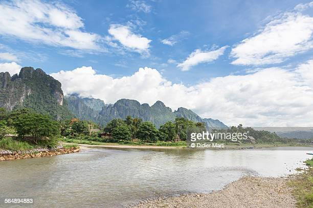 stunning landscape in laos - didier marti stock photos and pictures