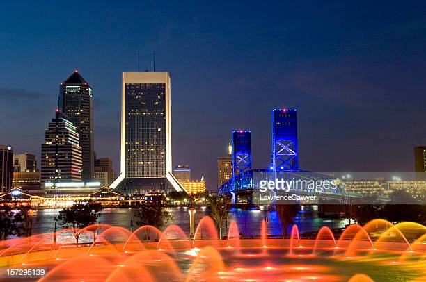 stunning skyline of jacksonville of florida at night - jacksonville florida stock pictures, royalty-free photos & images