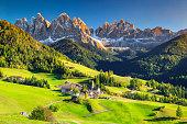 Stunning spring landscape with Santa Maddalena village, Dolomites, Italy, Europe