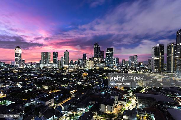 Stunning sunrise over Jakarta in Indonesia capital city