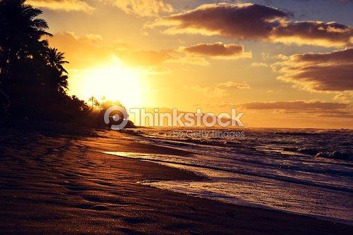 Stunning Sunset At Turtle Beach Near Haleiwa North S Oahu Stock Photo