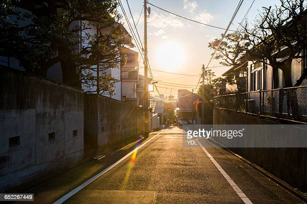 stunning sunset of residential area in japan. - 郷愁 ストックフォトと画像