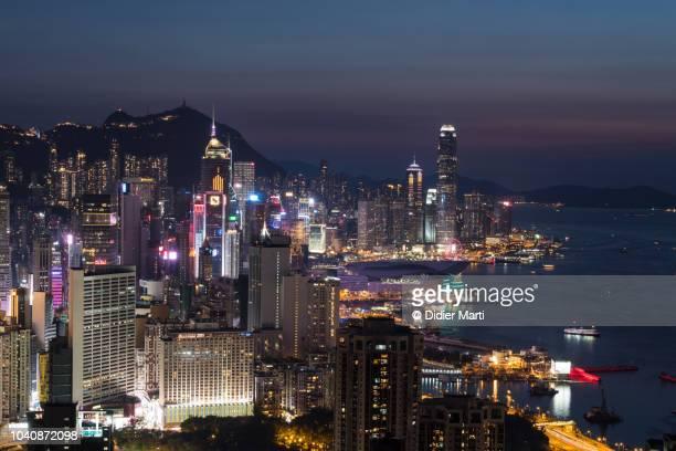 Stunning twilight over Hong Hong island Central