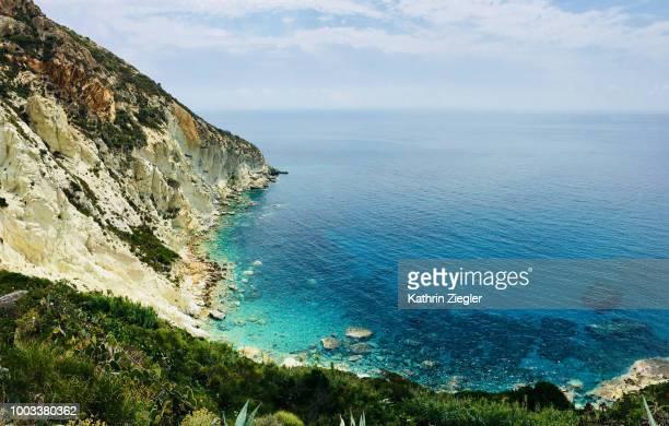 stunning view from punta incenso, ponza island, italy - scogliera foto e immagini stock