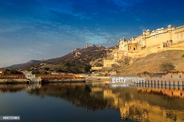 a stunning view of amer fort, rajasthan, india  - amber fort stockfoto's en -beelden