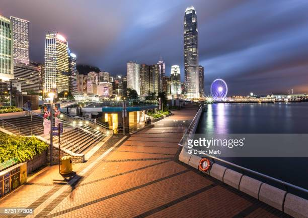Stunning view of Hong Kong central business district skyscrapers and towers at night