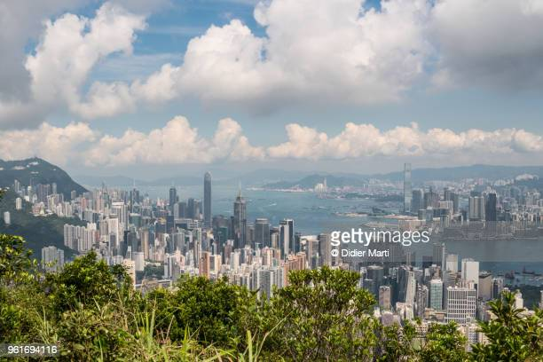 Stunning view of Hong Kong island and Kowloon skyline across the Victoria Harbor