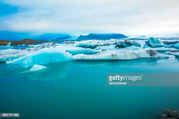Stunning view of icebergs in glacier lagoon