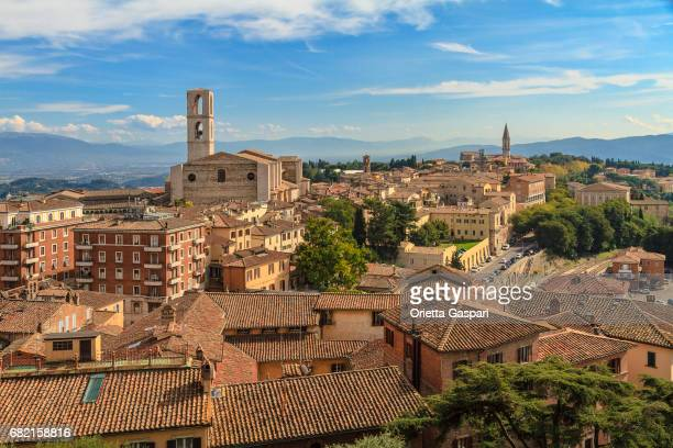 a stunning view of perugia on a sunny day. umbria, italy - perugia stock pictures, royalty-free photos & images