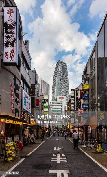 Stunning view of the entertainment district at the foot of the skyscrapers of Shinjuku in Tokyo
