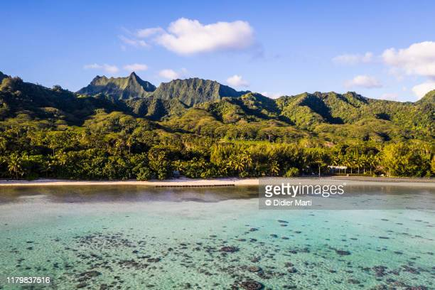 stunning view of the rarotonga in the south pacific in the cook island - isole cook foto e immagini stock