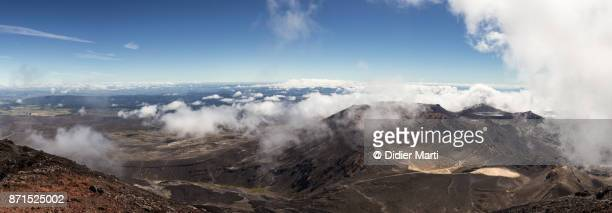 Stunning view of the Tongariro Alpine crossing from the top of the Ngauruhoe volcano in New Zealand