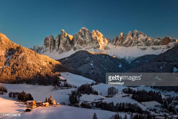stunning winter landscape with santa maddalena village, dolomites, italy, europe - dolomites stock pictures, royalty-free photos & images