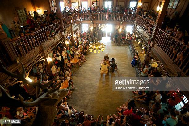 Stunt actors perform during a show for tourists at Fort Bravo/Texas Hollywood on August 20 2015 in Almeria Spain Fort Bravo Texas Hollywood built in...