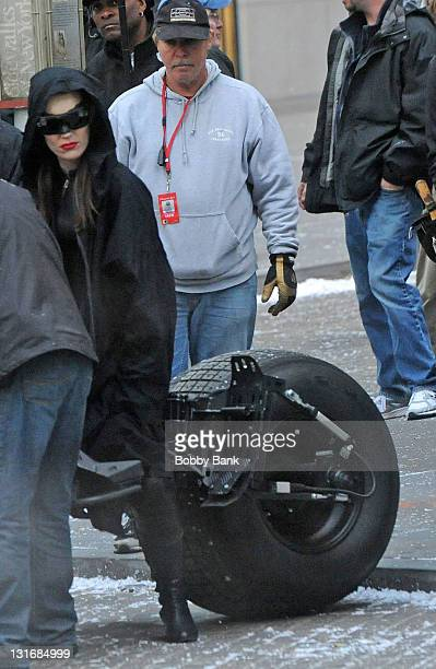 Stunt actress Jolene Van Vugt films a scene as Catwoman on location for The Dark Knight Rises on the streets of Manhattan on November 6 2011 in New...