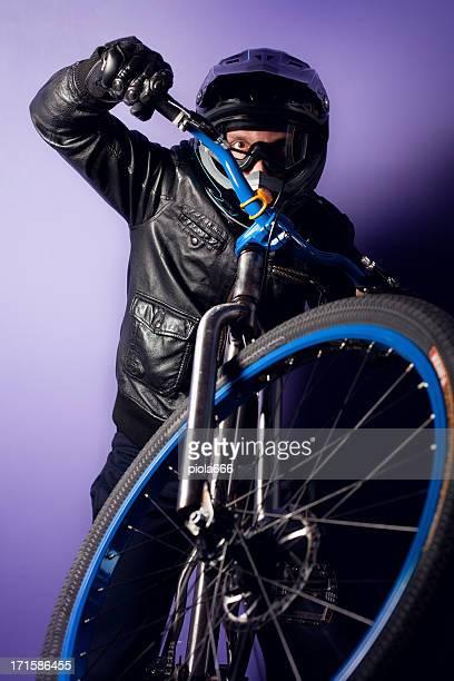 Stunt Bike Rider with Enduro Helmet