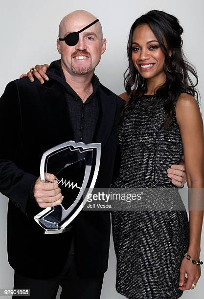 Stunt Coordinator Garrett Warren and actress Zoe Saldana pose for a portrait during the 2009 Hamilton Behind The Camera awards held at The Highlands...