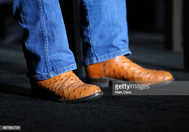Stunt coordinator Terry Leonard shoe detail speaks onstage before the screening of 'The Wind and the Lion' during day three of the 2015 TCM Classic...