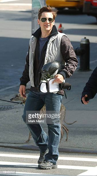 A stunt double for actor Tobey Maguire arrives on the set of 'The Amazing SpiderMan' April 21 2003 in the West Village in New York City