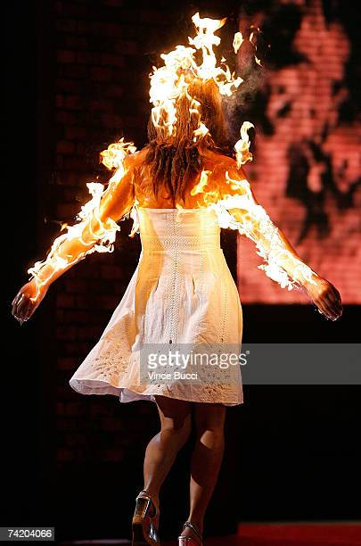 Stunt models walk the stage during the 'Fire for Hire' Runway show at the 7th Annual Taurus World Stunt Awards at Paramount Pictures on May 20 2007...