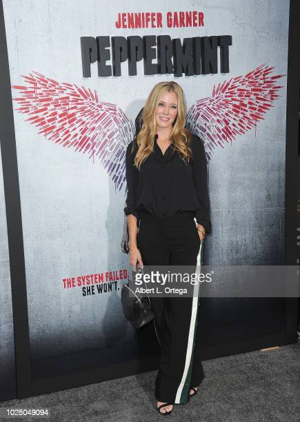 Stunt performer Shauna Duggins arrives for the Premiere Of STX Entertainment's Peppermint held at Stadium 14 on August 28 2018 in Los Angeles...