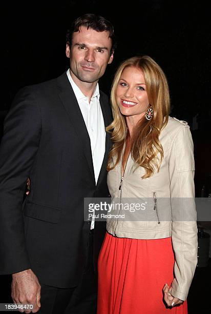 Stunt performer Stephen Dunlevy and actress Ellen Hollman attend Philhellenes Gala at SkyBar at the Mondrian Los Angeles on October 9 2013 in West...