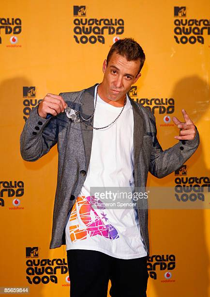 Stunt rider Robbie Maddison poses at the Vodafone MTV Australia Awards 2009 at the Sydney Convention and Exhibition Centre Darling Harbour on March...