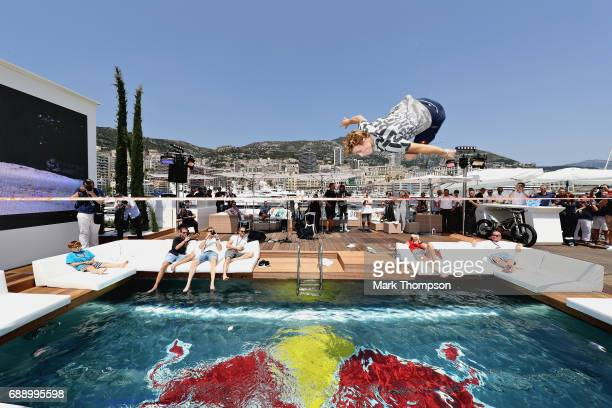 Stunt show on the Red Bull Racing Energy Station before qualifying for the Monaco Formula One Grand Prix at Circuit de Monaco on May 27, 2017 in...