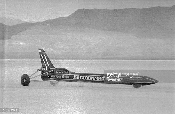 Stuntman Stan Barrett, aboard his 40-foot rocket car, begins a 6.6 mile journey that will result in a new land speed record. The needle nose hit...