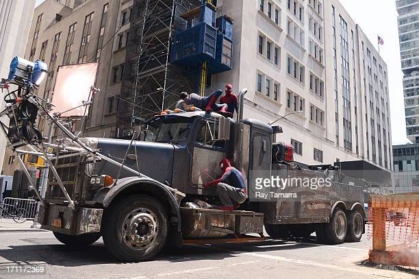 Stuntmen actor Paul Giamatti and actor Andrew Garfield film a scene at the 'The Amazing Spiderman 2' movie set in Madison Square Park on June 22 2013...