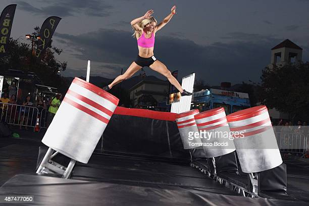 Stuntwoman Jessie Graff attends the NBC's 'American Ninja Warrior' season 7 finale preview screening held at The Autry National Center on September 9...
