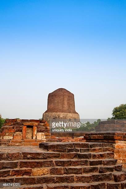 stupa, dhamek stupa, sarnath, varanasi, uttar pradesh, india - dhamekh stupa stock photos and pictures
