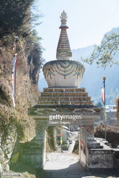 stupa in Chame, on Annapurna Circuit, nepal, asia