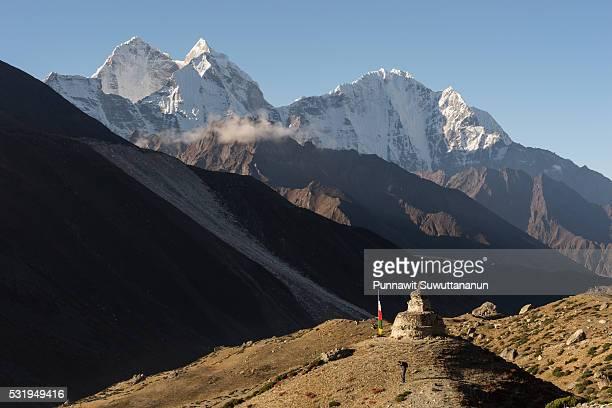 A stupa in front of Kangtega mountain, Everest region