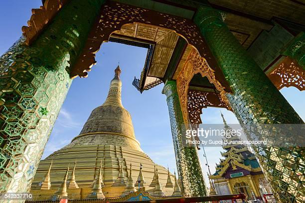 Stupa of Shwemawdaw Paya at sunset, Bago, Myanmar.