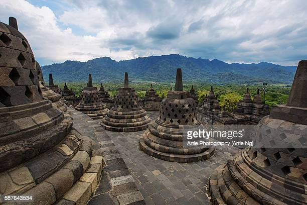 Stupas at Borobudur, Magelang, Central Java, Indonesia