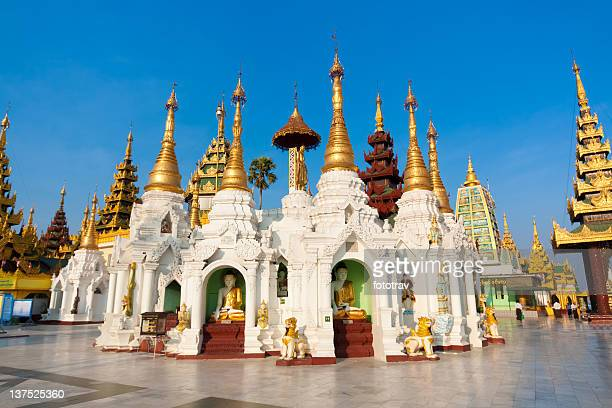 stupas in the shwedagon pagoda - yangon stock pictures, royalty-free photos & images
