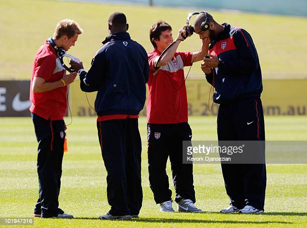 Sturat Holden Maurice Edu Jose Torres and Oguchi Onyewu of USA prior to the start of the 2010 FIFA World Cup PreTournament match against Australia at...