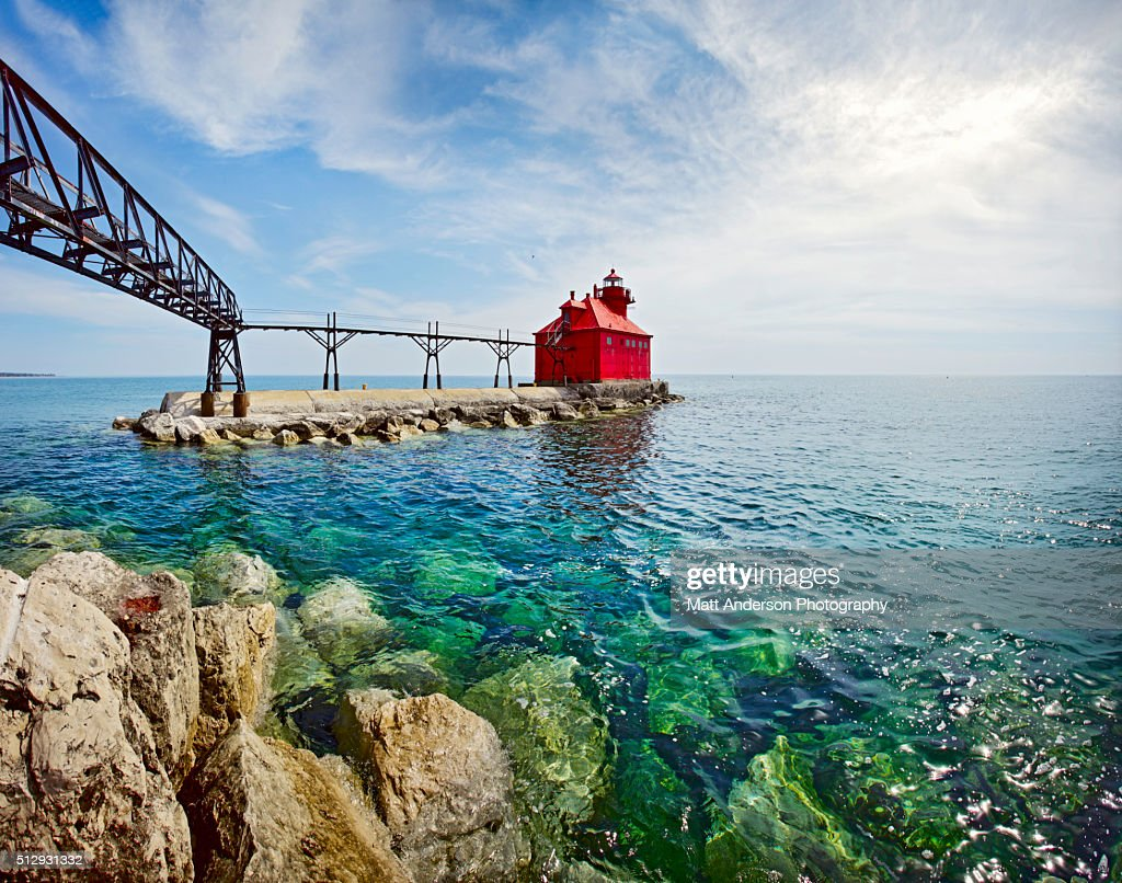 Sturgeon Bay Lighthouse Door County Wisconsin Stock Photo   Getty ...