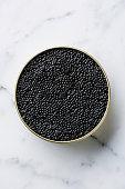 Sturgeon black caviar in can