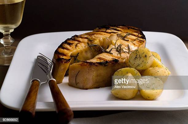 Sturgeon stake with dill patatoes
