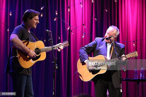 Sturgill Simpson and John Prine perform during Up Close and Personal John Prine Sturgill Simpson at The GRAMMY Museum on June 21 2016 in Los Angeles...