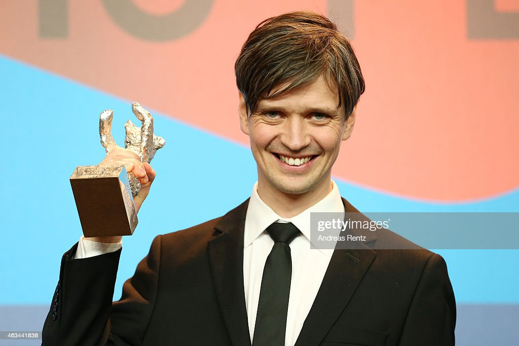 Sturla Brandth Grovlen accepts the silver bear for best camera on stage for the movie Victoria attends the Award Winners press conference during the 65th Berlinale International Film Festival at Grand Hyatt Hotel on February 14, 2015 in Berlin, Germany.