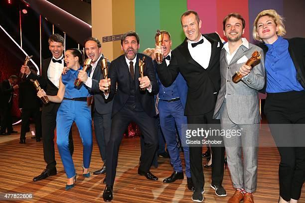 Sturla Brandth Grovlen, Laia Costa, Frederick Lau, Sebastian Schipper, Jan Dressler and Nils Frahm attend the German Film Award 2015 Lola party at...