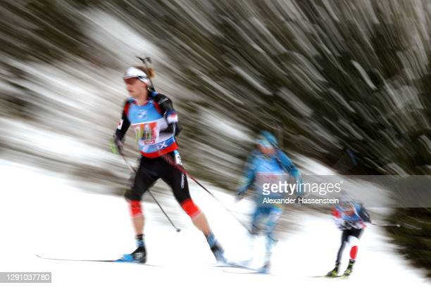 Sturla Holm Laegreid of Norway leads the pack during the Men 4x7.5 km Relay Competition at the BMW IBU World Cup Biathlon Hochfilzen at at Biathlon...