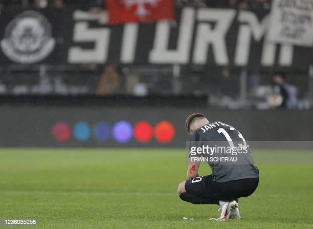 Sturm Graz's Austrian midfielder Jakob Jantscher reacts during the UEFA Europa League group B football match between SK Sturm Graz and Real Sociedad...